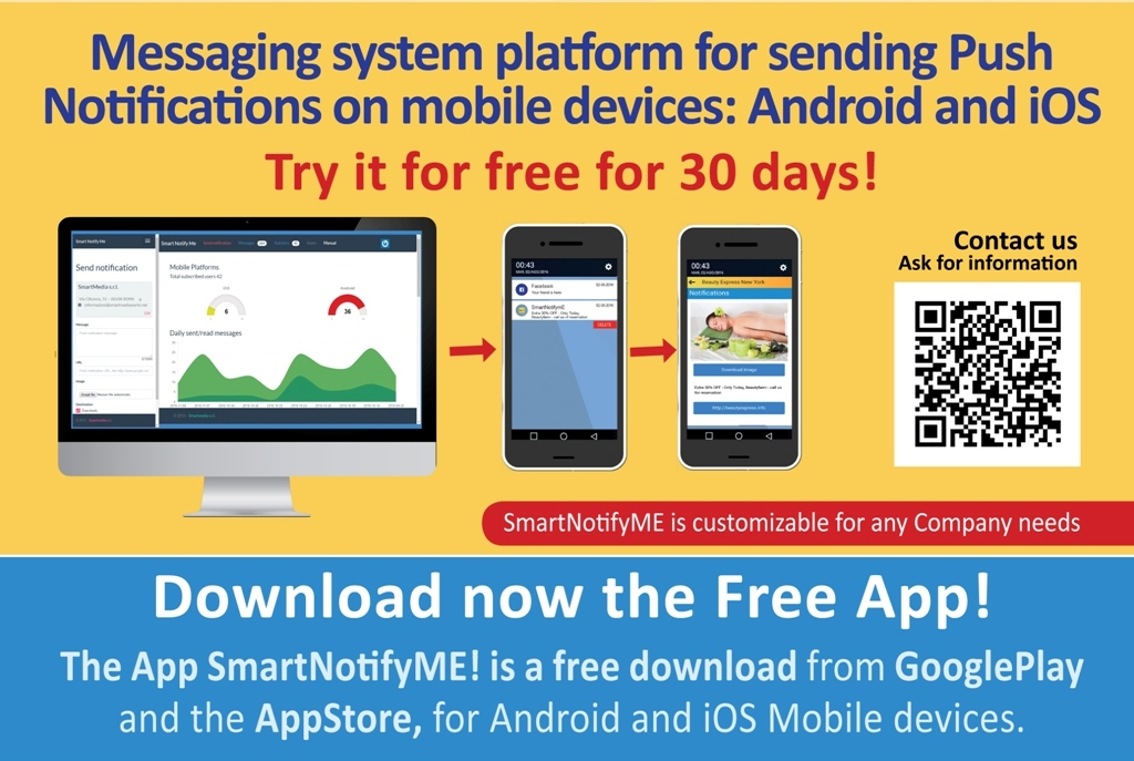 Try SmartNofityme for free for 30 days! and download now the free app from Apple Store or Google Play